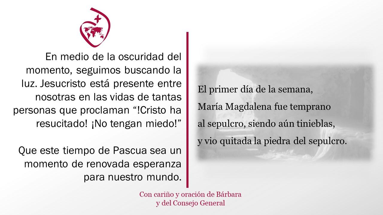 Vigilia de Pascua 2021: Un mensaje de Barbara y el Consejo General