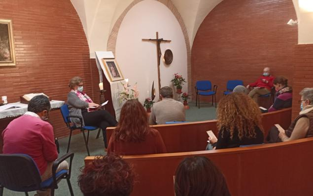 RSCJ and staff meeting in the Mother House chapel