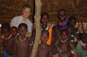 Jo Wright rscj visiting a family in Karamoja, Uganda.