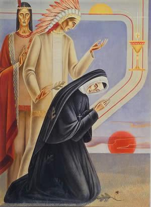 St. Philippine Duchesne with the Potawatomi. Painting at Sugar Creek, Kansas, USA.