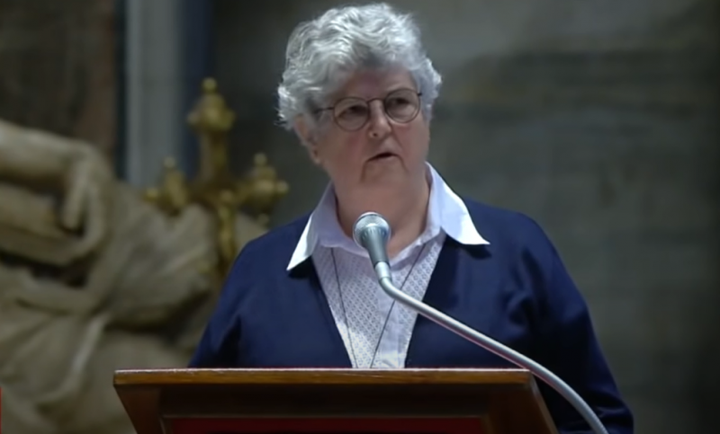 Barbara Dawson reads at Easter Mass at the Vatican