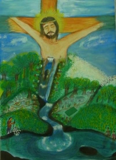 Dibujo de Deodita Jacky Godinho de Jesús en la Cruz