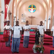 Community of Gombe DRC singing a song for Madeleine Sophie